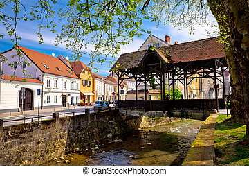 Samobor river and old wooden bridge, town in northern...