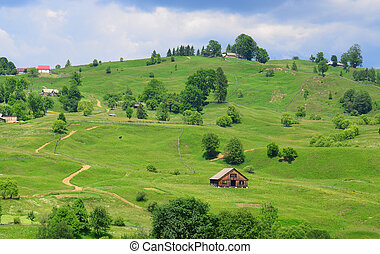 View of the Ukrainian village - Summer landscape in the...