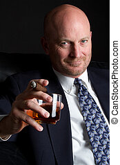 Drinking Smoking Man - Businessman drinking alcohol smoking...