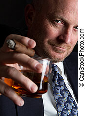 Drinking Smoking Man - Businessman smoking and drinking