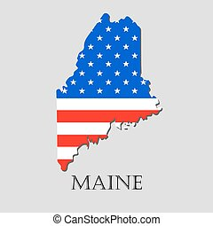 Map State of Maine in American Flag - vector illustration. -...