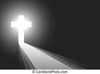 Black background with Cross and rays - vector illustration.