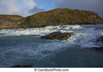 Salto Grande in Torres del Paine - Rapids above waterfall...