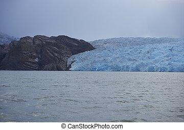 Grey Glacier in Torres del Paine - Glacier Grey flowing into...