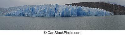 Glacier Grey in Torres del Paine - Glacier Grey flowing into...