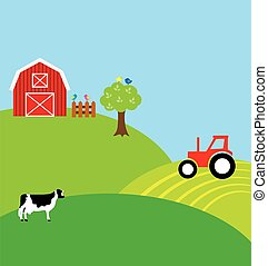 countryside - vector countryside landscape with farm