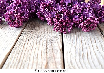 lilac flower - image of lilac flowers on wooden background