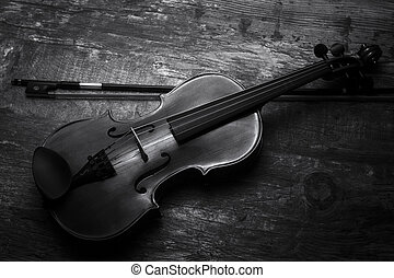 Violin black and white artistic conversion low lighting -...