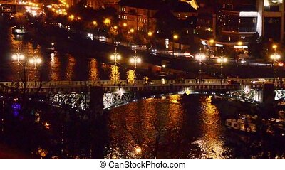 Prague night traffic - Night traffic on the bridge over...