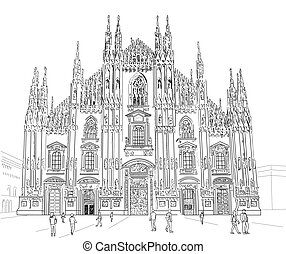 Sketch Milan Cathedral - Milan Cathedral Gothic architecture...