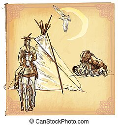 Native American, Indian - An hand drawn vector sketch,...