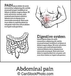 concept of health problems, stomach illness - Abdominal pain...