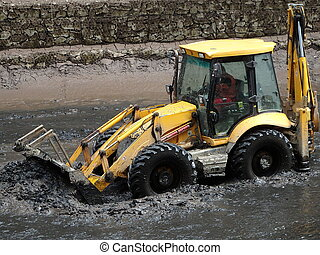 wheel loader excavator - yellow wheel loader excavator in...