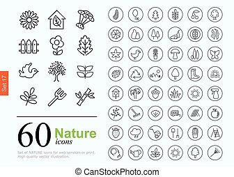60 nature icons - Set of nature icons for web or services 60...