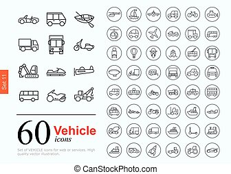 60 vechile icons - Set of transport icons for web or...