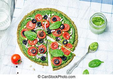 vegan broccoli zucchini pizza crust with spinach pesto,...