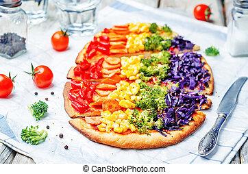 rainbow vegan pizza