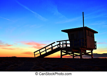 Venice Beach Lifeguard Stand at Sunset