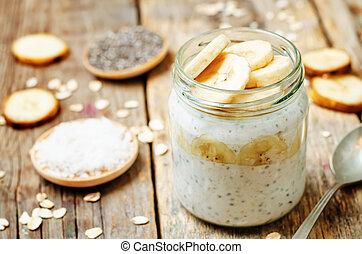 overnight oats with Greek yogurt, Chia seeds and banana....