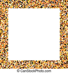 Pixel mosaic square border frame in colors of fire - yellow,...