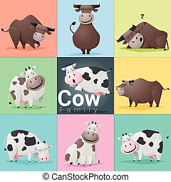 Set of Cow family, vector, illustration