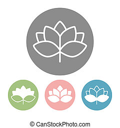 Lotus blossom icons and logos in trendy linear style...
