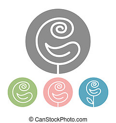 Beautiful Rose flower icon and logo in trendy linear style...