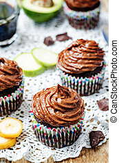 Chocolate zucchini banana cupcakes with chocolate avocado...