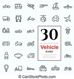 30 vechile icons - Set of transport icons for web or...