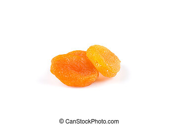 Dried apricots on white background with a light shadow