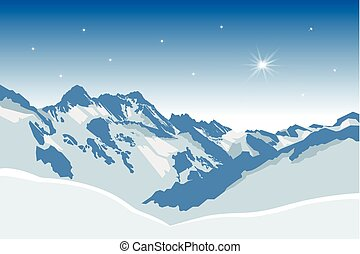 Winter mountains - Winter snowy mountains vector background