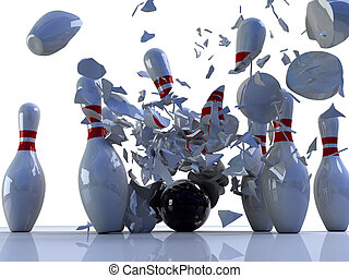 Bowling pins destroyed by ball. 3D render of a bowling ball...