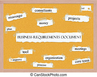 Business Requirements Document Corkboard Word Concept with...