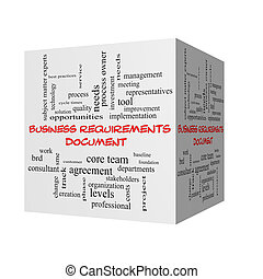 Business Requirements Document 3D Word Cloud Concept in red...