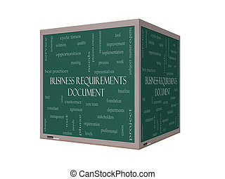 Business Requirements Document Word Cloud Concept on a 3D...