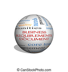 Business Requirements Document 3D sphere Word Cloud Concept...