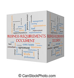 Business Requirements Document 3D cube Word Cloud Concept...