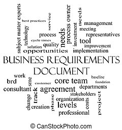 Business Requirements Document Word Cloud Concept in black...