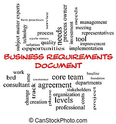 Business Requirements Document Word Cloud Concept in red...