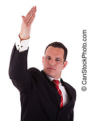 businessman waving, isolated on white background, studio shot