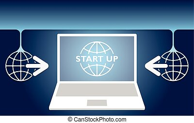 Two global symbols with arrows and laptop and start up icon