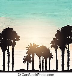 Palm trees on an acrylic paint background - Silhouette of...