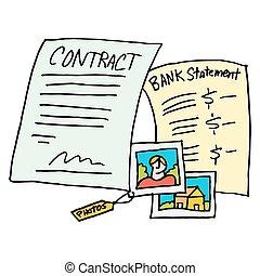 legal, evidencia, contrato, documentos,