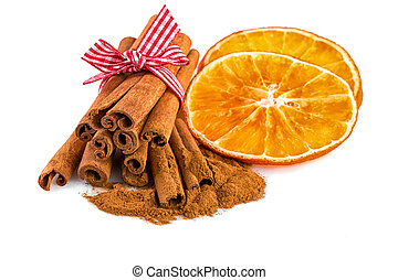 Dried orange slices with cinnamon sticks - Christmas spices...