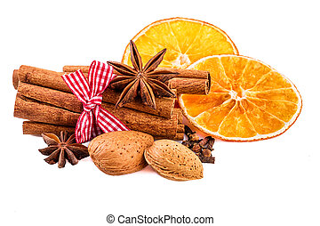 Christmas spices cinnamon, anise, clove, almond nuts and...