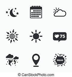 Cloud and sun icon Storm symbol Moon and stars - Calendar,...