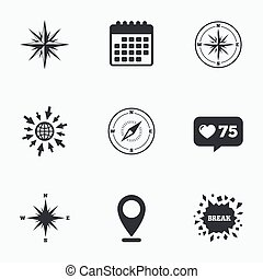 Windrose navigation icons Compass symbols - Calendar, like...