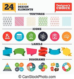 Quiz icons Checklist and human brain symbols - Banner tags,...
