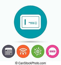 Safe sign icon Deposit lock symbol - Wifi, Sms and calendar...