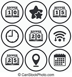 Cookbook icons Twenty five recipes book sign - Clock, wifi...